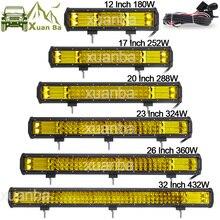 """สามแถวLed Light Bar 12 """"20"""" 23 """"288Wทำงานไฟ12V 24VรถกระบะwagonรถบรรทุกAtv Suv Marine 4WD 4X4 OffroadโคมไฟCombo"""