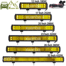 """Triple barre de ligne de lampes Led 12 """"20"""" 23 """"288W travail lumières 12V 24V pick up Wagon bateau camion Atv Suv Marine 4WD 4x4 Offroad Combo lampe"""