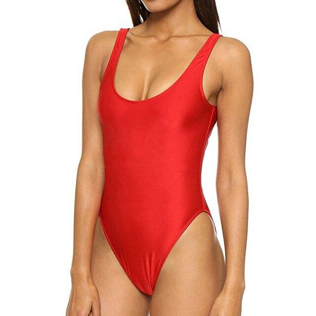 b0919032c1 Plus size High Cut One Piece Swimsuit Bathing Suit Sexy Women Swimwear  Thong Monokini Swim Wear