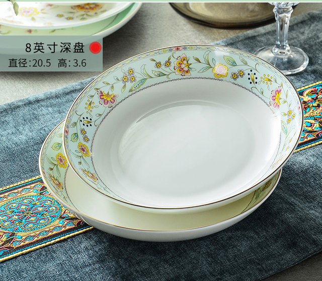 8inch fine bone china floral rice plate chinese dinner plates ceramic fruit plate & 8inch fine bone china floral rice plate chinese dinner plates ...