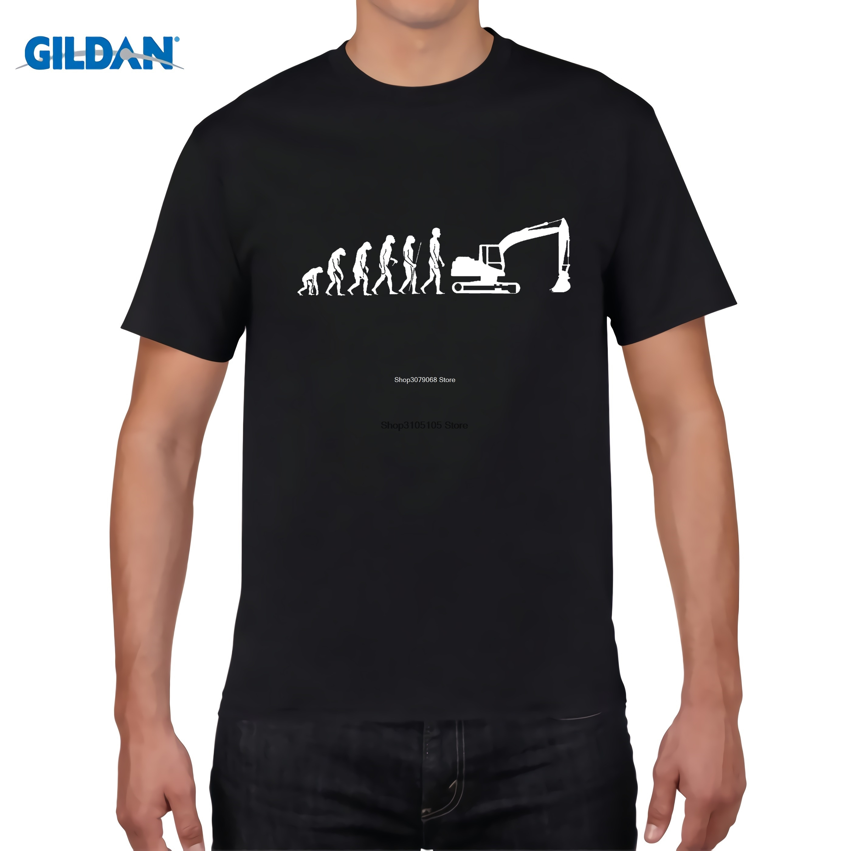 GILDAN designer t shirt Evolution T-Shirt Excavator Construction Vehicle Machine Caterpillar Construction Worker Hobby Tee Shirt