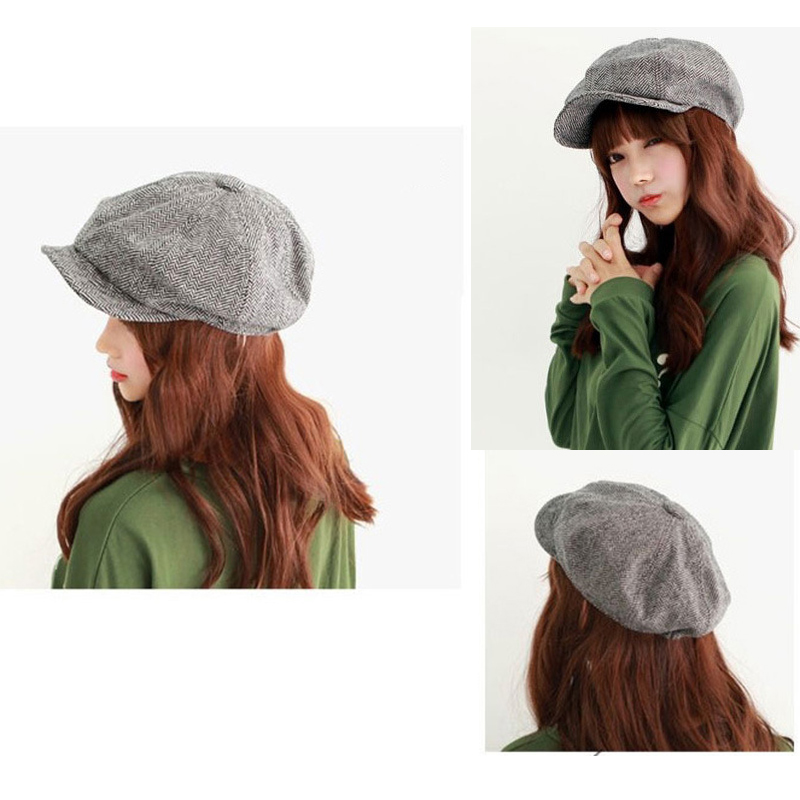 iMucci Grey Black Herringbone Tweed Gatsby Newsboy Cap Men Khaki Wool Ivy Hat Golf Driving Flat Cabbie Flat Unisex Berets Hat