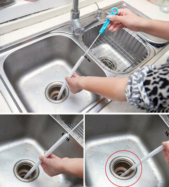 71cm Flexible Cleaning Brush Sink Overflow Drain Unblocker Cleaner Kitchen Tools Steel Bathroom Shower Hair