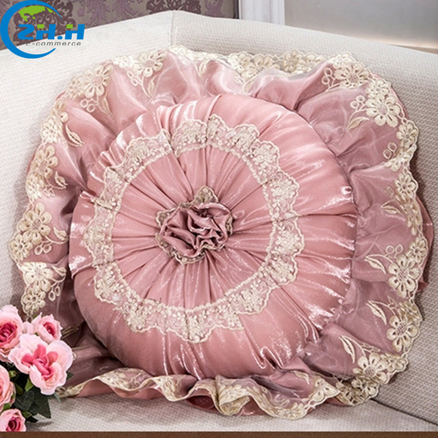 zhh european embroidery round cushions luxury decorative throw Upscale Decorative Pillows