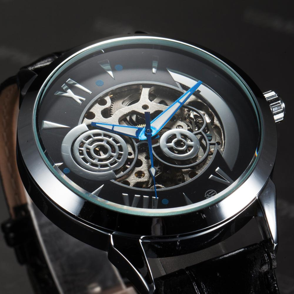 FORSINING Men's Watch Galaxy Skeleton Steampunk Casual Leather Strap Automatic Mechanical Male Clock Wristwatch Relojes Hombre(China)