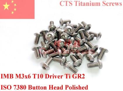 Titanium screw M3x6  Button Head Torx T10 Driver ISO 7380 Ti GR2 Polished 50 pcs 20pcs m3 6 m3 x 6mm aluminum anodized hex socket button head screw