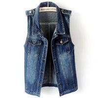 Fashion women Long Denim Vest Single Breasted Veste Slim Girls Frayed turn down collar tank tops plus size 2XL