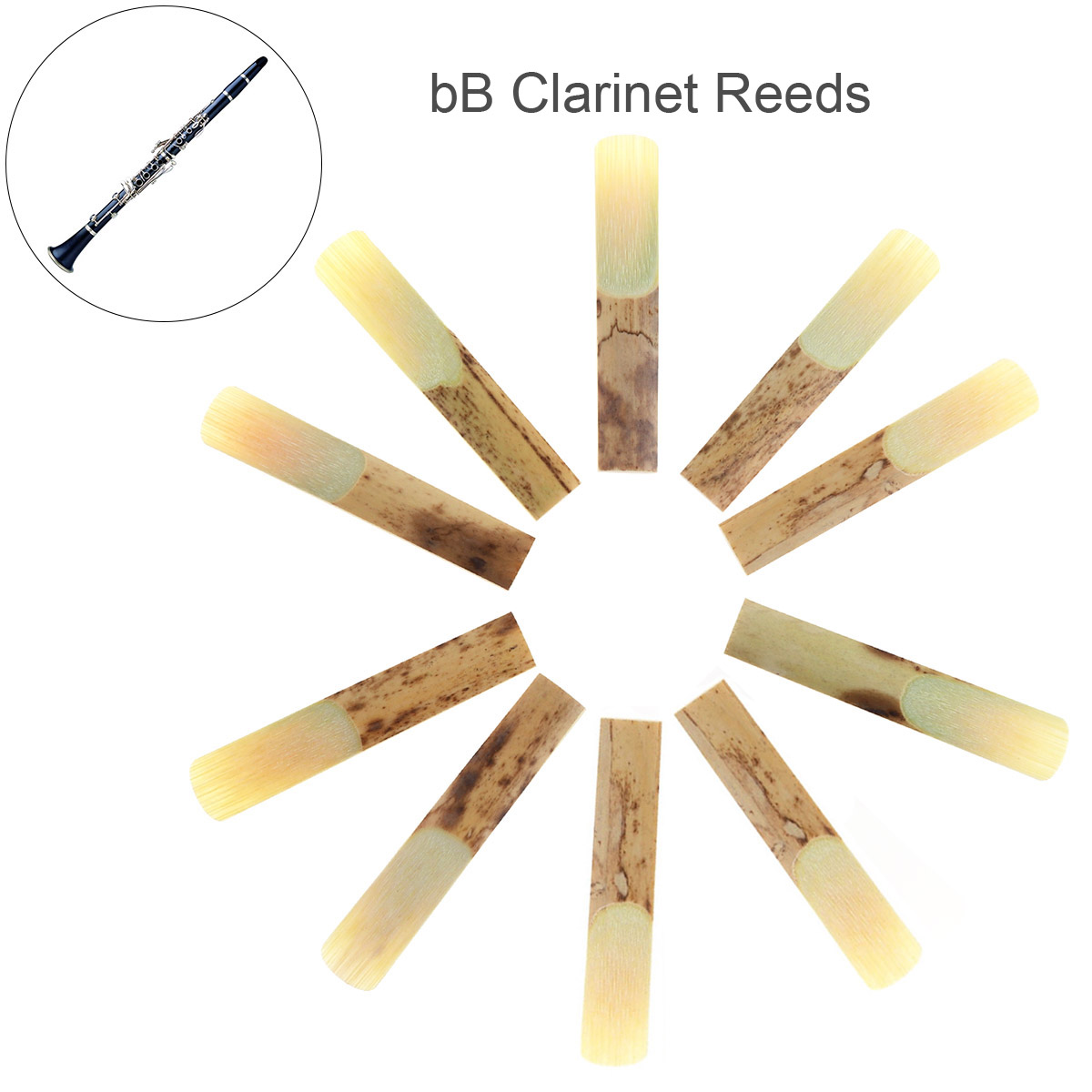 Hearty New 10pcs Professional Bamboo Bb Clarinet Reeds Strength 2.5 For Clarinet Mouthpiece Parts Traditional Bamboo Reed Making Things Convenient For The People