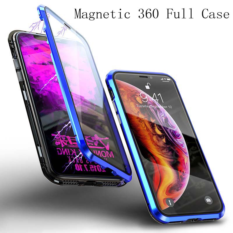Luxury Full Body Protective Magnetic Case 360 Transparent Tempered Glass Back Cover For iphone 7 8 8plus X XS XR XsMax KS0154 in Holsters Clips from Cellphones Telecommunications