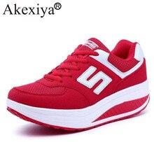 Akexiya รองเท้าผ้าใบสตรีแพลตฟอร์ม WEDGE Light น้ำหนัก zapatillas รองเท้าวิ่งรองเท้าผู้หญิง Swing รองเท้า Breathable กีฬา Slimming