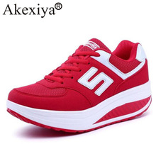 Akexiya Womens Sneakers Platform Wedge Light Weight zapatillas Running Shoes For Woman Swing Shoes Breathable Sports Slimming