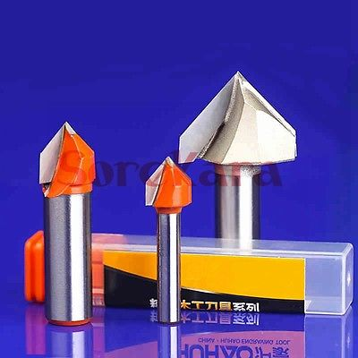 1/2*1 V Shape Wood Router Bits CNC Tools End Mill For MDF Plywood Cork Plastic Acrylic PVC Woodworking 5pcs 3 175 2 0 8mm half straight cutter cnc router tools cutters for 2d cutting pvc wood mdf abs machine bits free gifts
