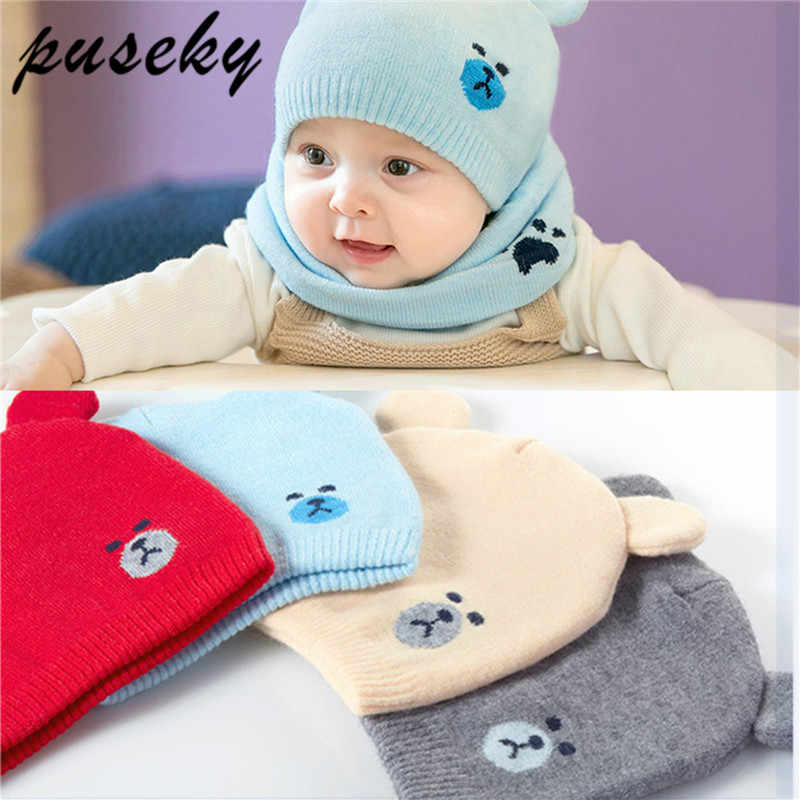 d70148f0b45 Puseky 2Pcs Autumn Winter Newborn Baby Knit Hat Scarf Set Cartoon Bear Cap  Kids Boys Girls