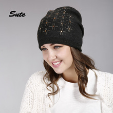 SUTE women hat for spring knitted street fashion hats 2017 new arrival casual caps good quality female hat Winter hat M-328