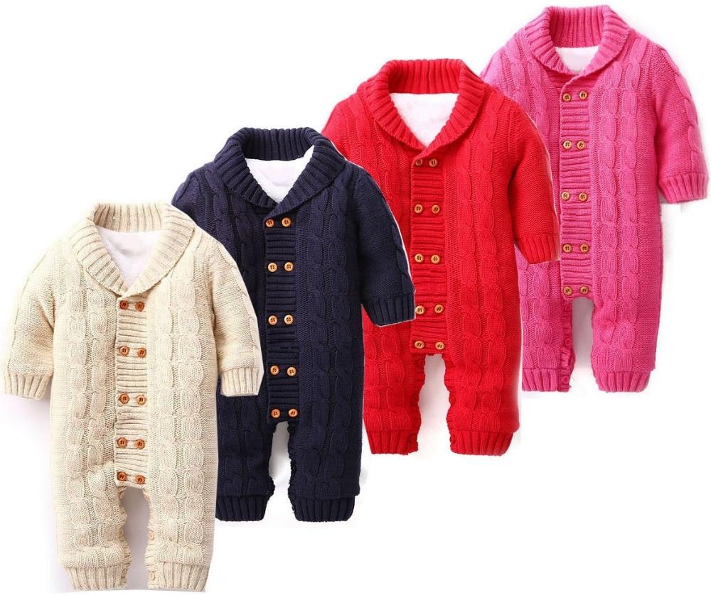 Baby Halloween Winter Christmas cotton solid Romper Woolen ...