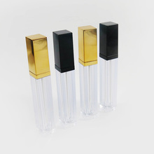 200 x 6ML Top Quality Transparent Square Mini Lip Gloss Tube Empty Balm Containers With Black Gold Lid for Lipstick Samples
