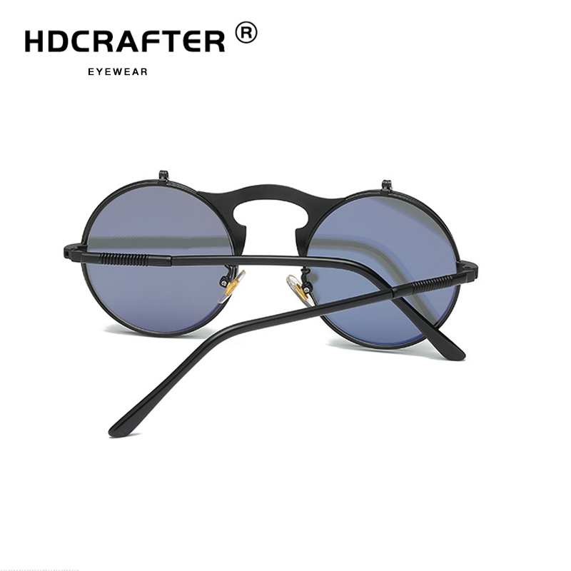 3f399049096 Vintage Steampunk Flip Up Men Sunglasses Women Retro Round Metal Frame Sun  Glasses Hinge Design Curved Glasses Legs UV400-in Sunglasses from Apparel  ...