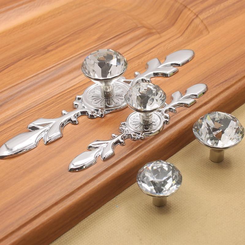 Crystal Glass Diamond Furniture Handles Drawer Wardrobe