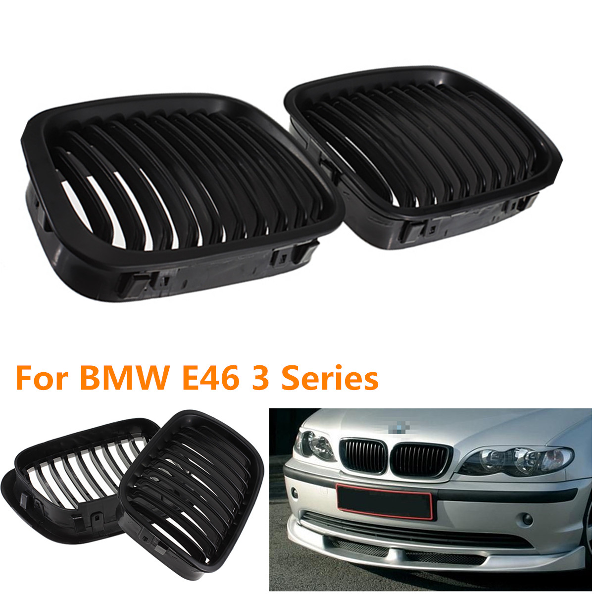 2Pcs BLACK Car GRILLE GRILL for BMW E46 1998-2001 4 DOOR 320i 323i 325i 328i 330i 1998-2001 мальцева н навязчивый мотив 1990 2001