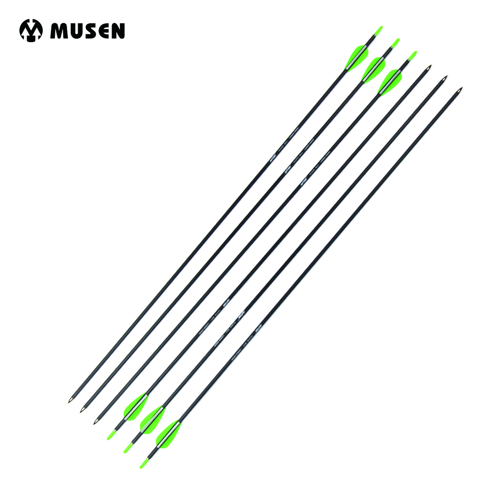 Spine 700 Length 31 MAK Carbon Arrow 6/12/24pcs Arrows OD5.5mm with 2 Green1 White Vanes for Compound/Recurve Bow Hunting green arrow vol 2 triple threat the new 52