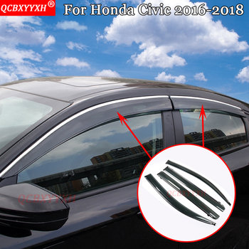 QCBXYYXH For Honda Civic 2016-2018 Car-Styling Awnings Shelters Window Visors Sun Rain Shield Stickers Covers Auto Accessories