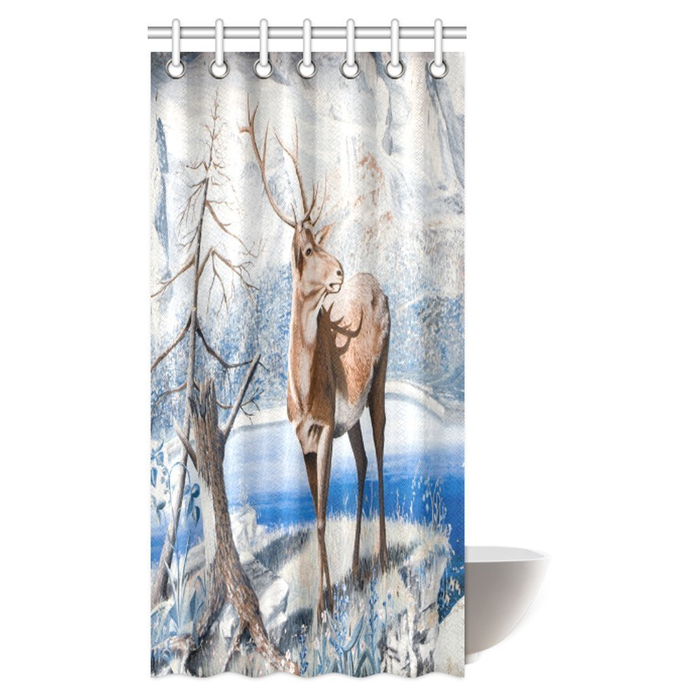 Aplysia Moose Shower Curtain Tree With Antlers Deer Snow Winter Design 36 X 72 Inches