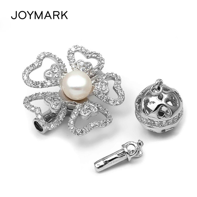 3 Ways 925 Sterling Silver Zircon Heart Shape Flower Multifunction Box Clasps Pearl Jewelry Necklace Pendant Connector SC-CZ0263 Ways 925 Sterling Silver Zircon Heart Shape Flower Multifunction Box Clasps Pearl Jewelry Necklace Pendant Connector SC-CZ026