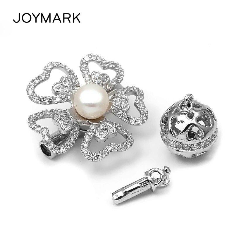 3 voies 925 argent Sterling Zircon coeur forme fleur boîte multifonction fermoirs perle bijoux collier pendentif connecteur SC-CZ026