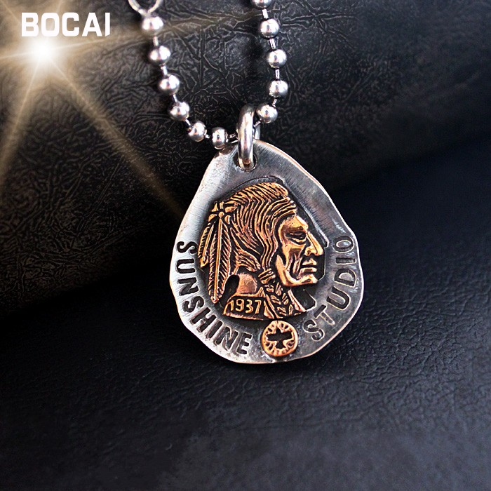Hot Buy Silver Ornaments Indian Pictures Silver Necklace Pendant Feather Totem Gentleman PersonalityHot Buy Silver Ornaments Indian Pictures Silver Necklace Pendant Feather Totem Gentleman Personality