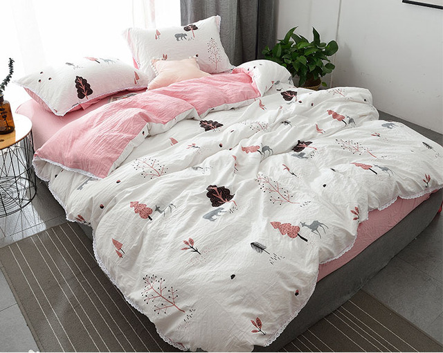 Charming Korean Water Wash Cotton Cute Princess Wind Four Piece Bed Sheets 1.8m  Bedding Student Dormitory