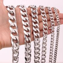 все цены на 5/8/10/12/15/17/19mm Wide Cool Biker Men Stainless Steel Polishing Silver Curb Cuban Link Chain Bracelet or Necklace 7-40inch онлайн