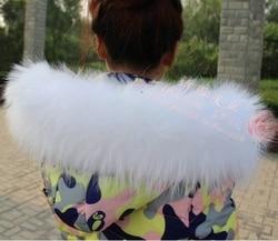 Kleurrijke Echt Wasbeer Bont Afneembare Kraag Sjaals Mode Jas Trui Afneembare Luxe Bontkraag TKC003-white
