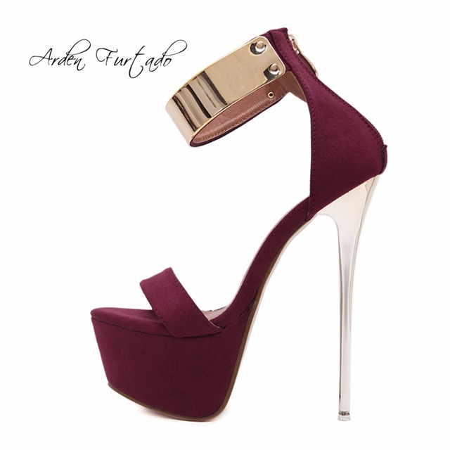 Arden Furtado 2018 summer newhigh heels 16cm platform buckle strap fashion  new sandals shoes for woman night club fashion shoes 6f0a6af5e785