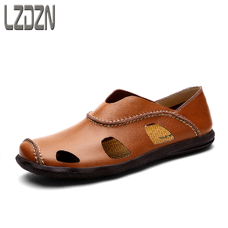 29be92945a9 Summer sandals shoes middle aged men drag Baotou dad sandals ...