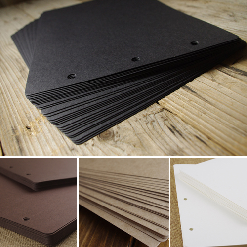 Big 3 Holes Kraft Black Card for Diy Photo Album Adding Inside Pages Scrapbooking 10/20/ ...