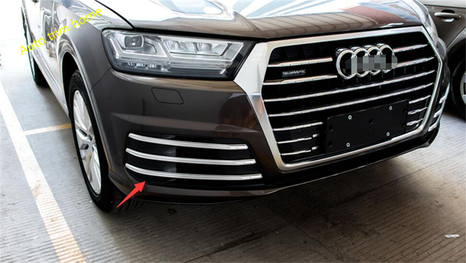ABS Front + Rear Tail Tailgate Fog Light Lamp Molding Garnish Cover Trim For Audi Q7 S-line Sport 2016 2017 2018