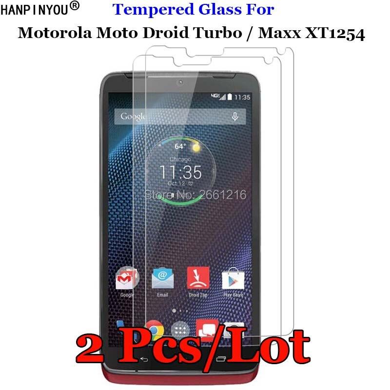 2 шт./лот, закаленное стекло 9H 2.5D для Moto XT1254, Премиум Защитная пленка для Motorola Moto Droid Turbo / Maxx XT1254 5,2 дюйма
