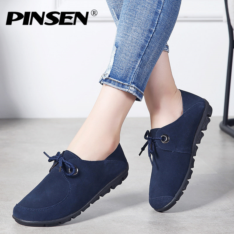 PINSEN 2018 Autumn Flats Women Shoes Leather Suede Lace-up Boat Shoes Woman Sneakers Loafers Ballet Flats Ladies Shoes Moccasins rasmeup genuine suede leather women s oxford shoes 2018 spring women lace up flat sneakers woman boat flats moccasins shoes
