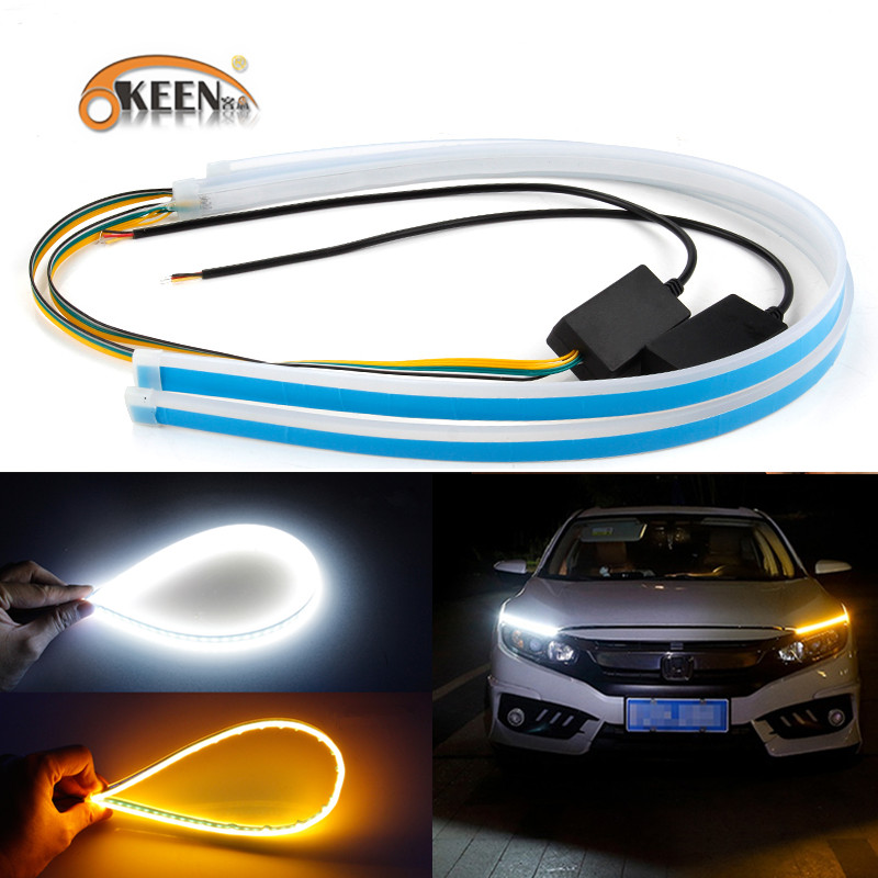 OKEEN 2x60cm Car Slim Flexible Headlight LED Strip Light Turn Signal DRL Running Light Yellow Flowing Daytime Running Lights 12V
