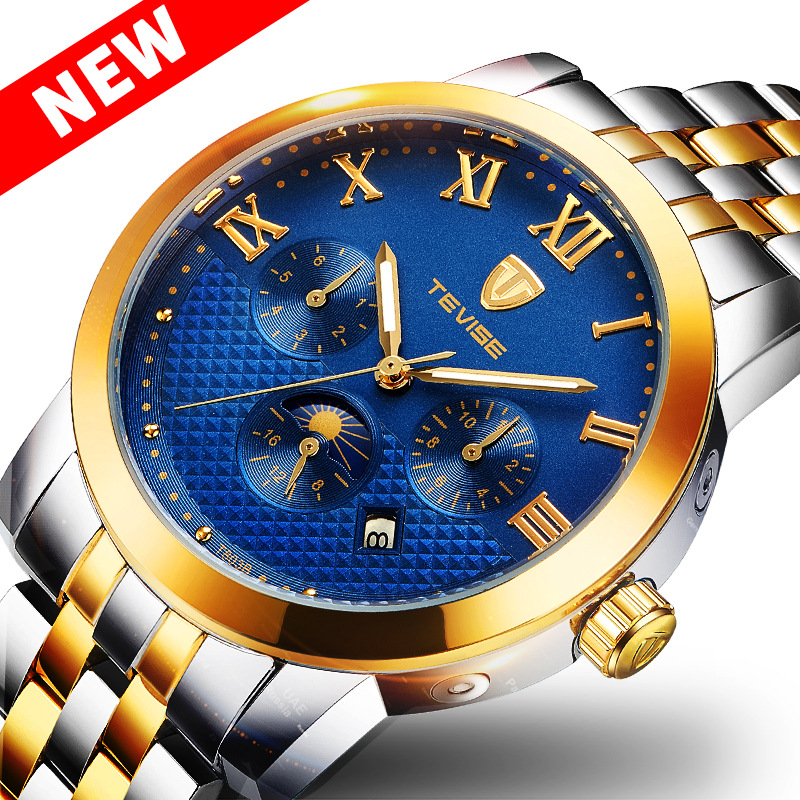 где купить TEVISE Tourbillon Multifunctional Watch Men Automatic Mechanical Waterproof Watch 2018 New Datejust Moon Phase Wristwatch Man дешево
