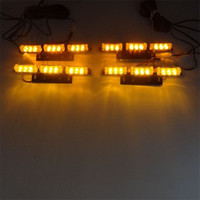 Yellow Amber flash light 4x9 LED Snow Plow Car Boat Truck Front grille Warning Emergency Strobe Lights DC12V