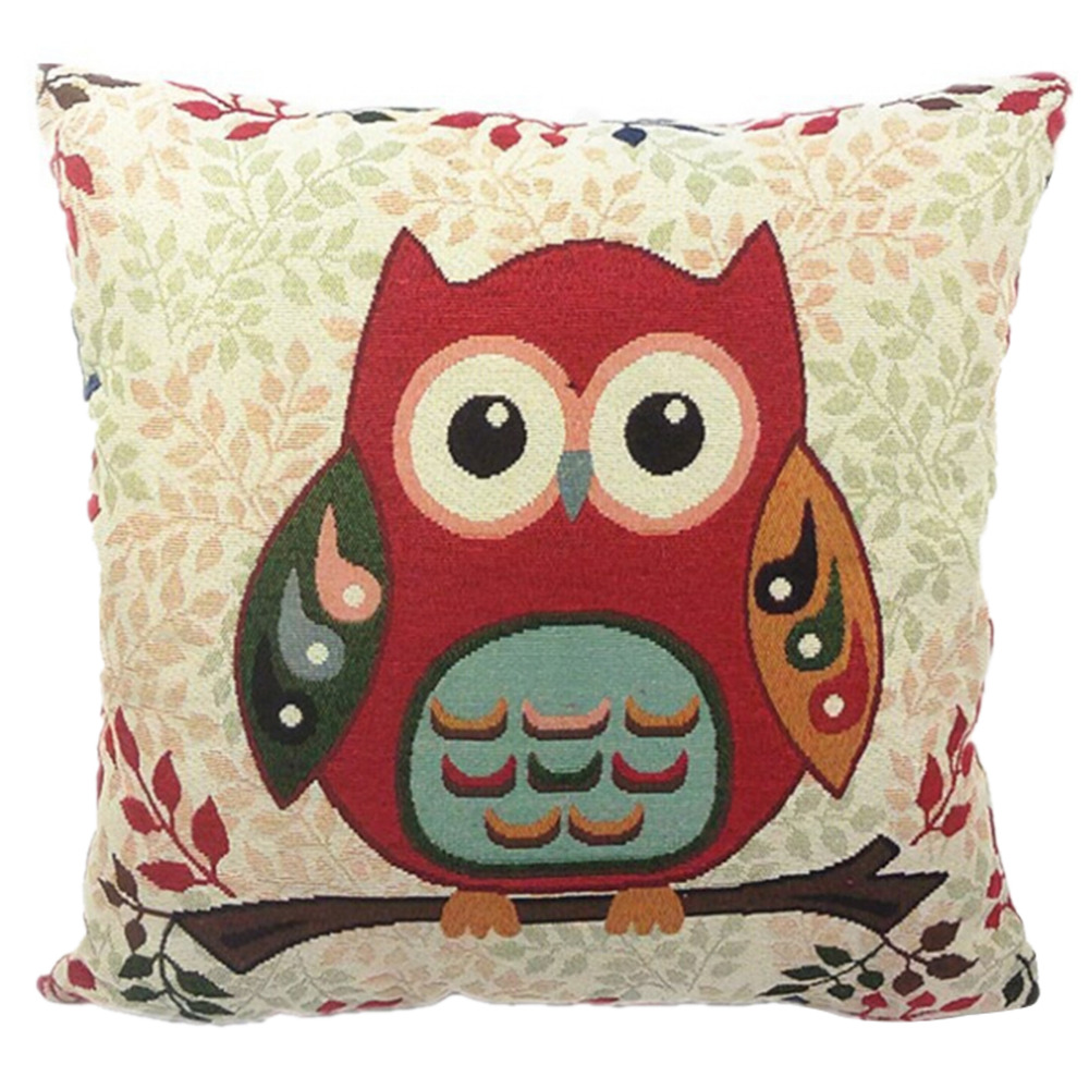 Super Cute Night Owl Square Pillow Case Pillowcase 5 Types Lovely Cotton Linen Throw Pillow Case Cover 43cm*43cm Home Textiles
