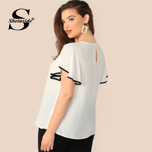 Sheinside Plus Size White Contrast Binding Flutter Sleeve Top Women 2019 Summer Flounce Sleeve Blouse Ladies Short Sleeve Tops 2