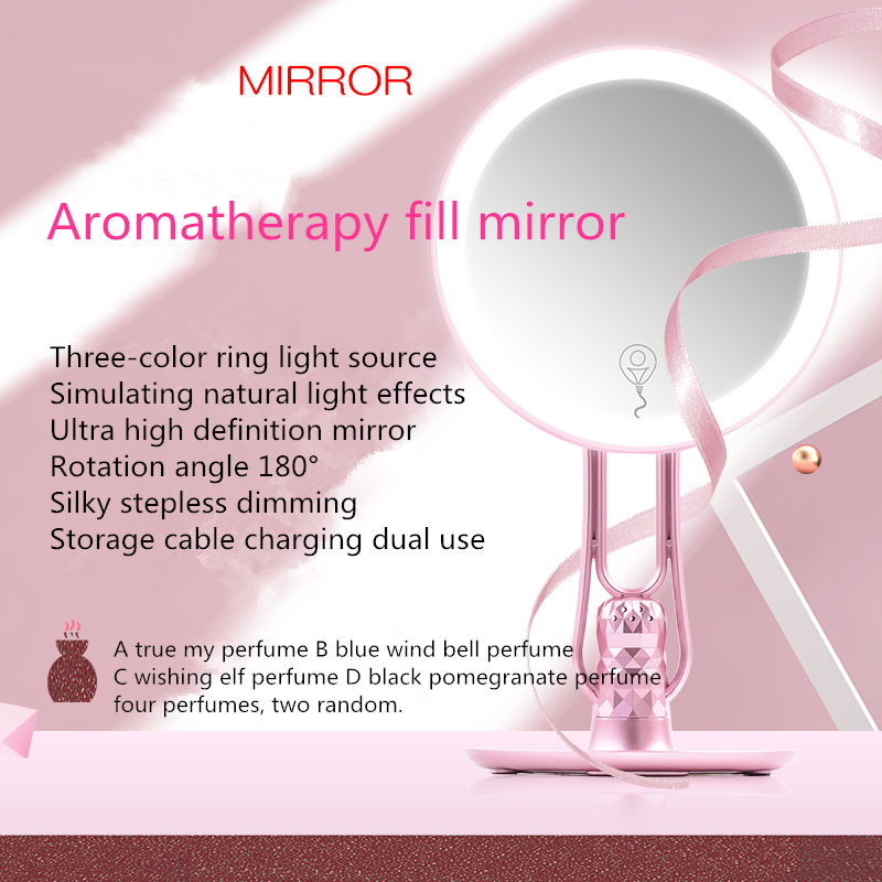 1PC High end Gift Makeup Mirror With Light Desktop Round Beauty LED Makeup Mirror three shift Dimming G0425