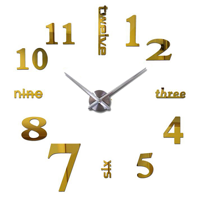 3D Decorative Chic Large Digitial Wall Clock Home Decoration Living Room Quartz Needle Mirror Sticker DIY Watch Wall Clocks in Wall Clocks from Home Garden