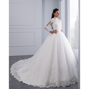 Image 4 - Miaoduo Vestido De Noiva 플러스 크기 높은 목 IIIusion 다시 긴 소매 웨딩 드레스 2020 공 가운 웨딩 드레스 여성을위한