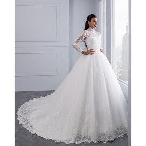 Image 4 - Miaoduo Vestido De Noiva Plus Size Hoge Hals Iiiusion Back Lange Mouwen Bruidsjurken 2020 Baljurk Trouwjurken Voor vrouwen