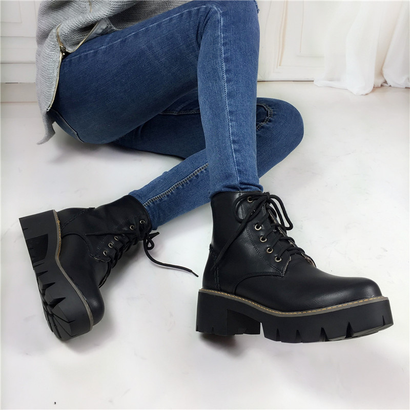 Plus Size 34-43 Autumn Winter warm Fashion Women's Lace-Up Women Snow Boots Platform Black Ankle boots Casual Martin Boots Shoes купить