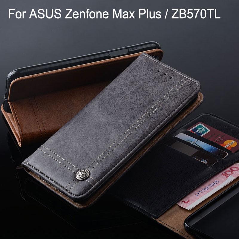 Caso para Asus zenfone Max Plus ZB570TL M1 X018D lujo cuero Flip funda con soporte de tarjeta ranura funda sin imanes