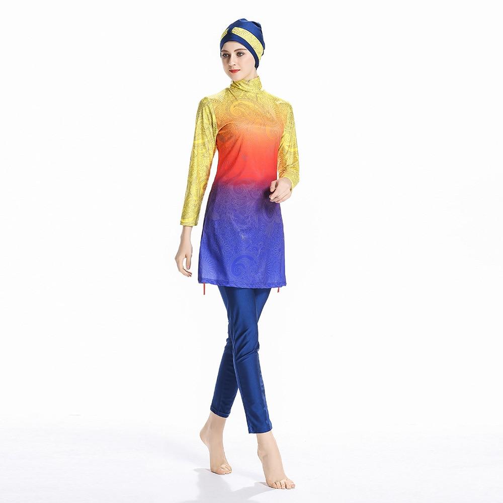 2019 nouveau maillot de bain musulman femmes Gradient imprimer modeste patchwork pleine couverture à manches longues maillots de bain islamique hijab burkinis beachwear